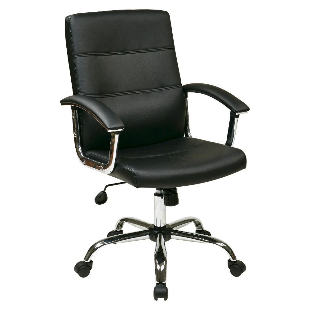 Image of Office Star Leather Task Chair - Black