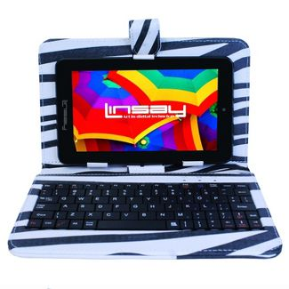 "LINSAY 7"" HD Quad Core Tablet with Zebra Style Keyboard Case 16GB"