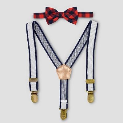 Baby Boys' Plaid Suspenders & Bow Tie Set - Cat & Jack™ Navy