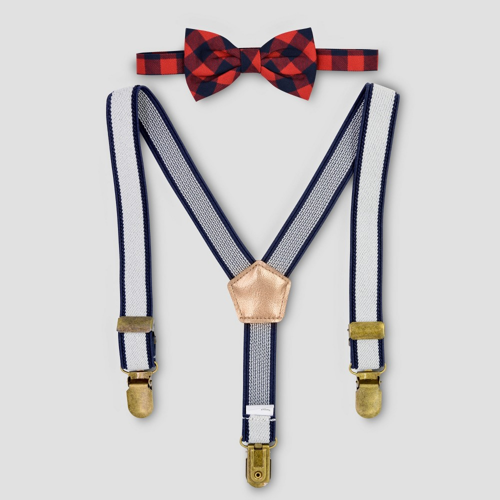 Kids 1950s Clothing & Costumes: Girls, Boys, Toddlers Baby Boys Plaid Suspenders  Bow Tie Set - Cat  Jack Navy Blue $9.99 AT vintagedancer.com