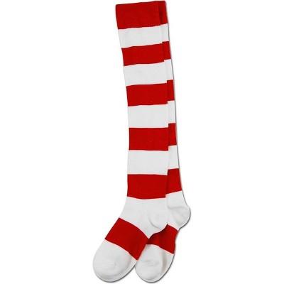 Elope Where's Waldo Wenda Deluxe Over the Knee Costume Socks Adult