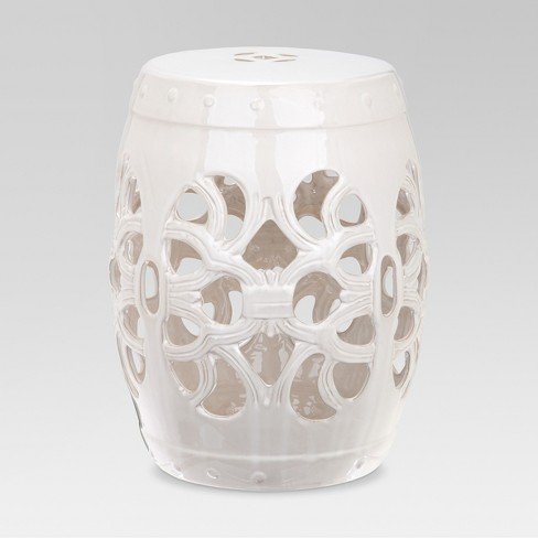 Imperial Vine Garden Patio Stool - White - Safavieh - image 1 of 3
