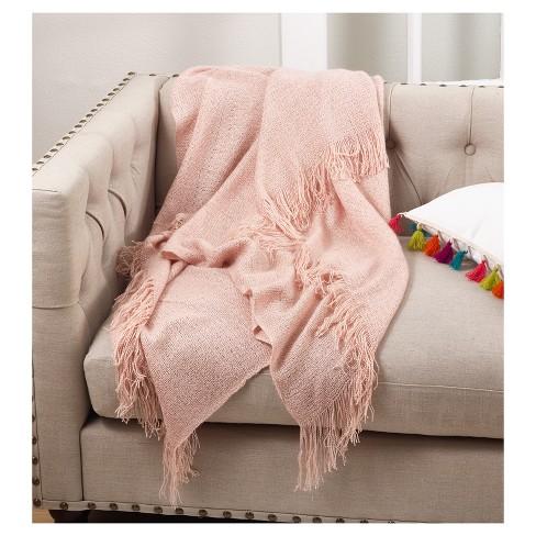 dbbe7fa547 Pink Fringe Hem Throw Blankets (50