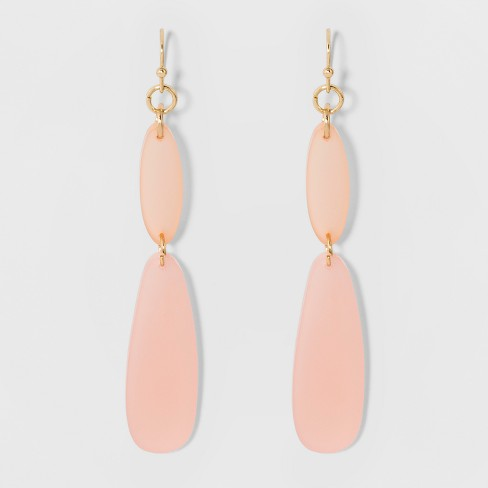 Acrylic Dangles Earrings A New Day Gold Pink