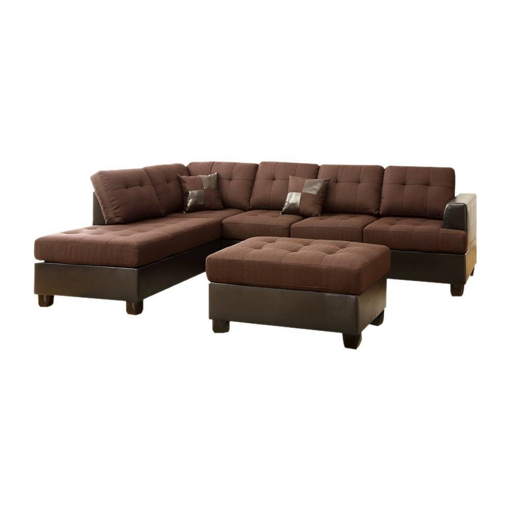 Image of 3pc Blended Linen Sectional Sofa Brown - Benzara