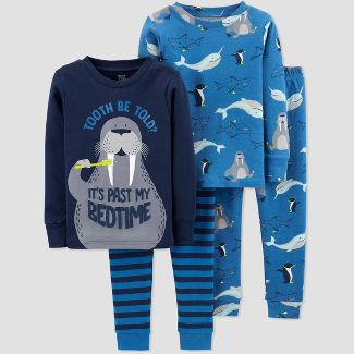 Toddler Boys' 4pc Walrus Tooth 100% Cotton Pajama Set - Just One You® made by carter's Blue 2T