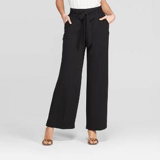 Women's Regular Fit High-Rise Tie Waist Wide Leg Pants - A New Day™ Black XXL