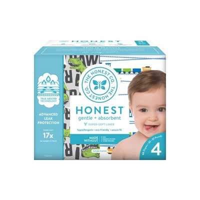 The Honest Company Disposable Diapers T-Rex & Trains - Size 4 - 60ct