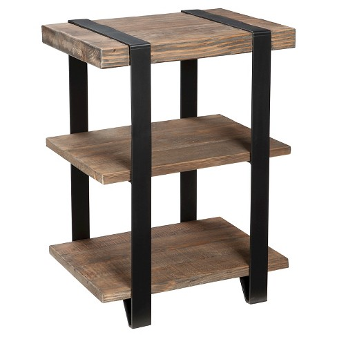 12 2 Shelf End Table Metal Strap And Reclaimed Wood Brown Alaterre Furniture