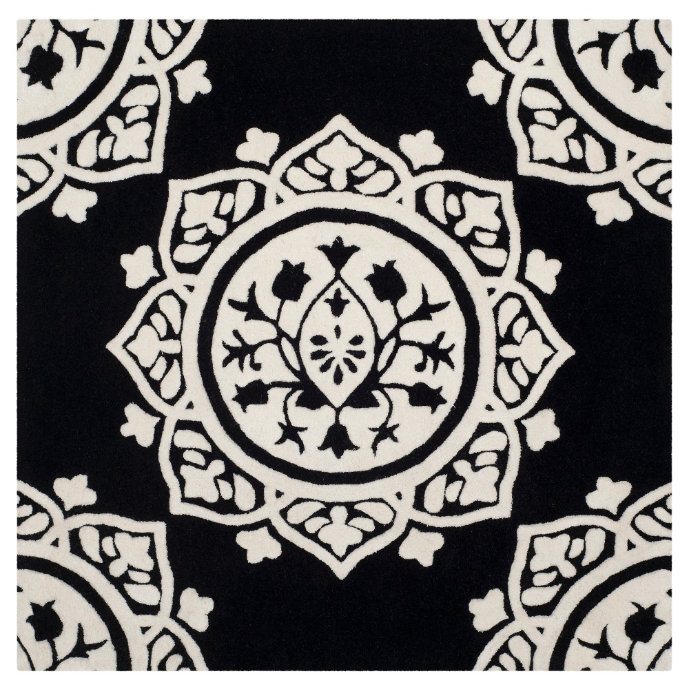 Black/Ivory Medallion Tufted Square Area Rug 5'X5' - Safavieh