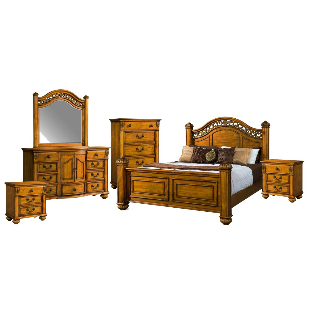 6pc Barrow Queen Poster Bedroom Set Oak - Picket House Furnishings, Brown