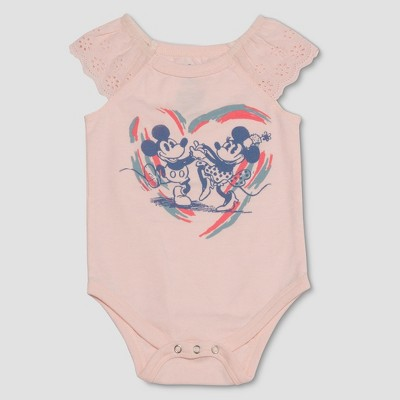 Junk Food Baby Girls' Disney Mickey Mouse & Friends Minnie Mouse Ruffle Bodysuit - Pastel Pink 6-9M