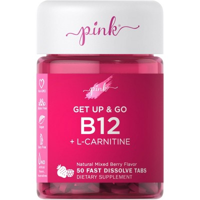 Pink Get Up & Go B-12 + L-Carnitine Fast Dissolve Tabs - Natural Berry - 50ct