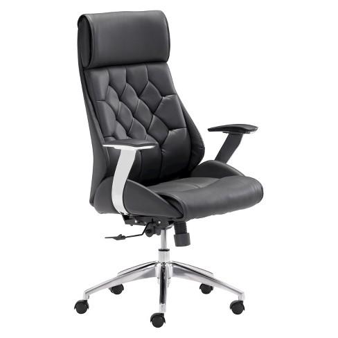 Modern Tufted Adjule Office Chair Black Zm Home