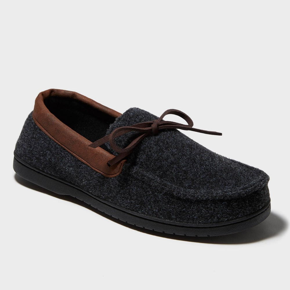Image of Men's dluxe by dearfoams Jacoby Moccasin Slippers - Gray L(9-10), Size: Large (11-12)