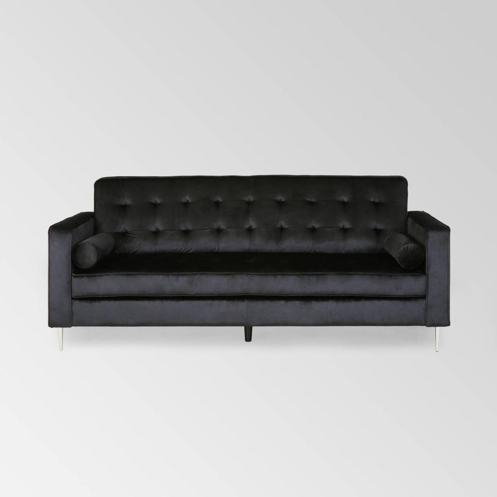 Image of Poynes Modern Glam Tufted Velvet Sofa Black - Christopher Knight Home
