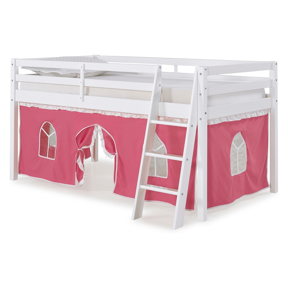 Roxy Twin Junior Loft Bed With Pink And White Tent White - Bolton Furniture