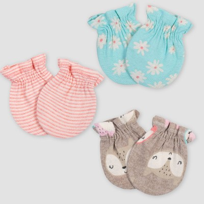 Gerber Baby Girls' 3pk Fox Mittens - Coral/Green/Light Brown 0-3M