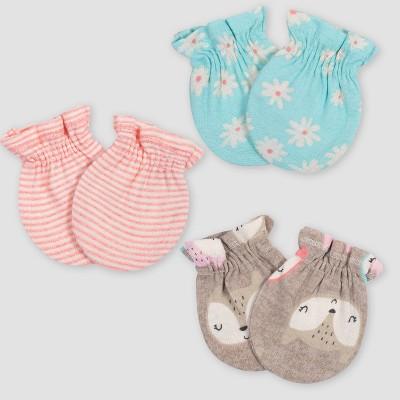 Gerber Baby Girls' 3pk Fox Mittens - Coral/Green/Light Brown 0-3M