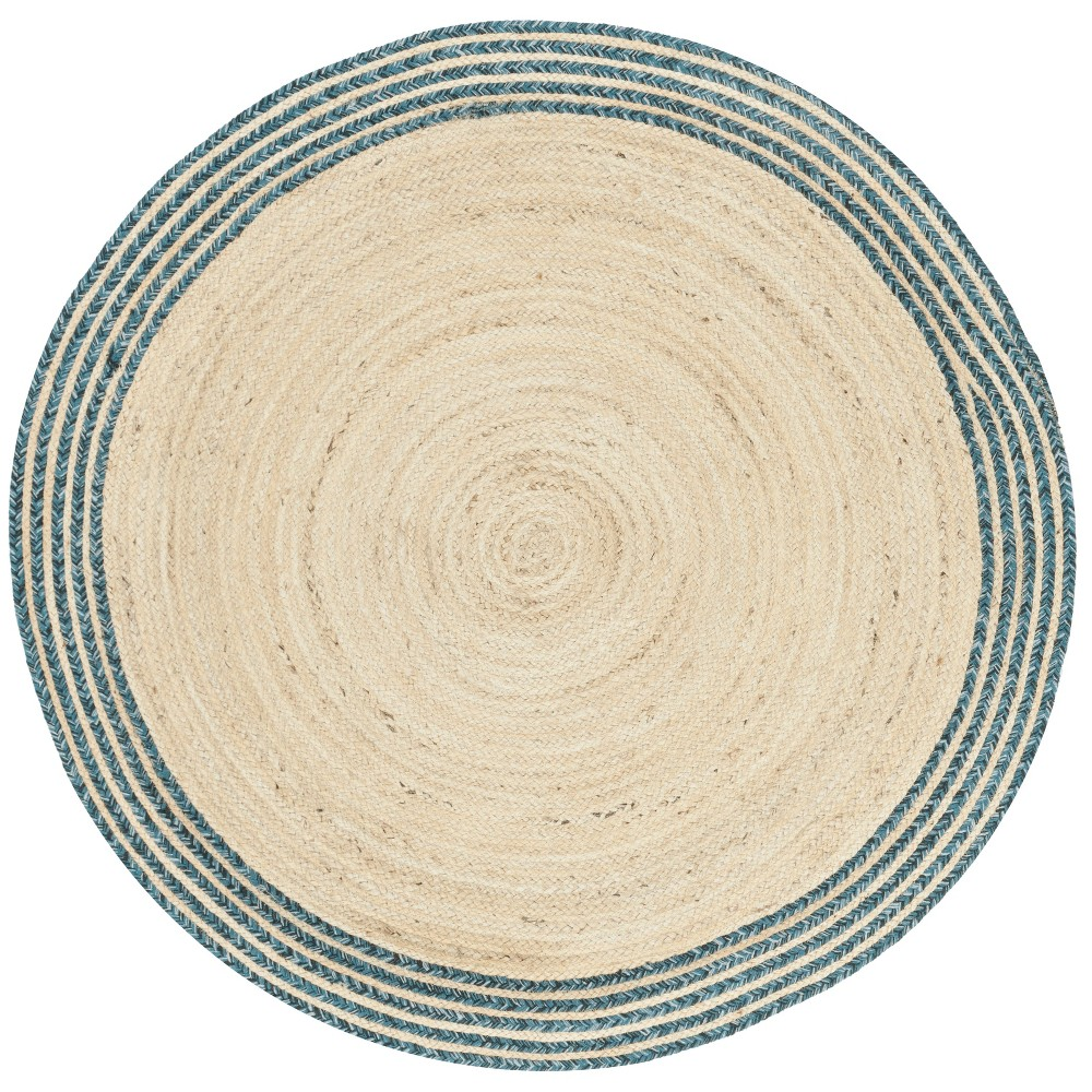 5' Solid Woven Round Area Rug Ivory/Blue - Safavieh