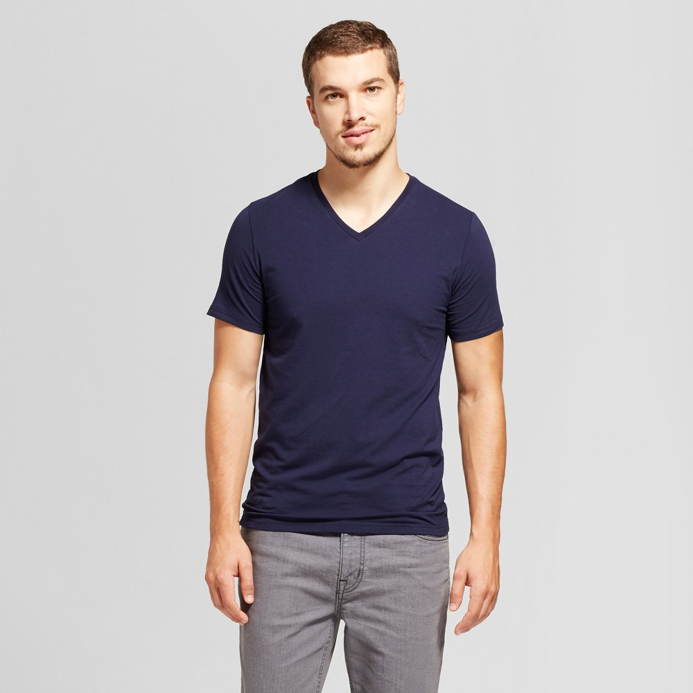 Men's Slim Fit Pima V-Neck T-Shirt - Goodfellow & Co Navy (Blue) Xxl