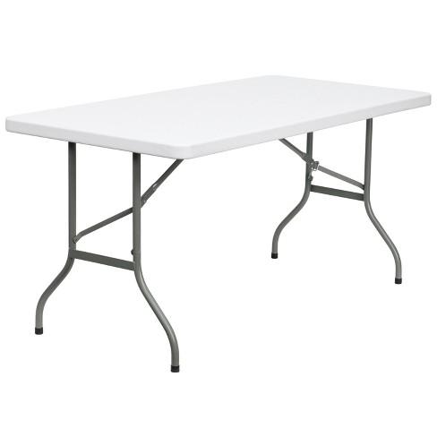 Flash Furniture 5-Foot Granite White Plastic Folding Table - image 1 of 4
