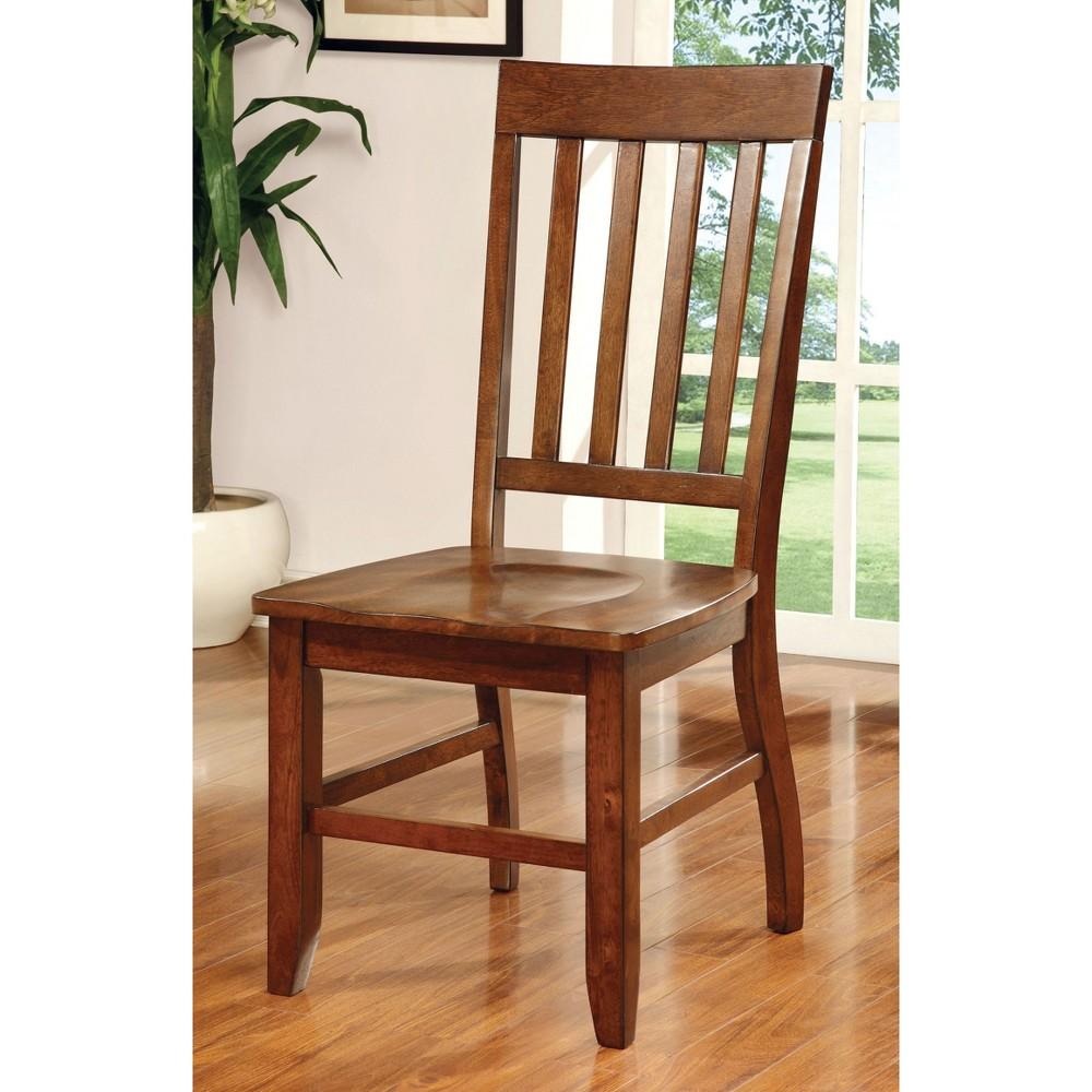 Sun & Pine Traditional Wooden Side Chair Wood/Dark Oak (Set of 2)