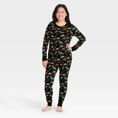 Women's Halloween Dino Skeleton Print Matching Family Pajama Set - Black