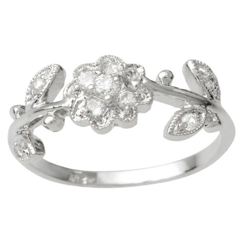 Tressa Collection Cubic Zirconia Flower and Leaves Ring in Sterling Silver - image 1 of 2