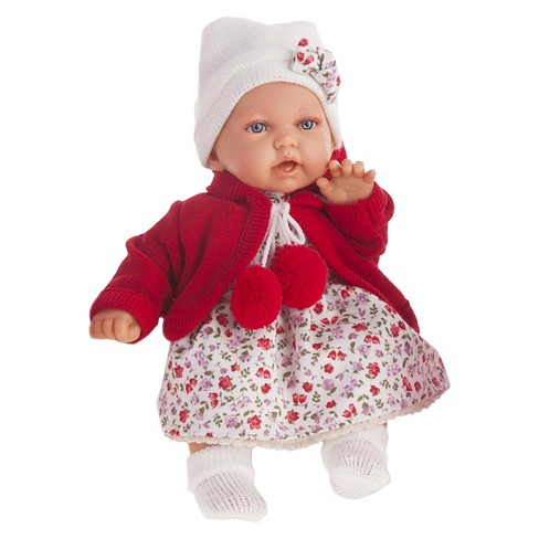 "Antonio Juan Petit 11"" Baby Girl Doll With Cherry Red Dress - image 1 of 1"