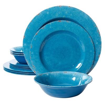 Mauna 12 Piece Dinnerware Set in Cobalt Blue