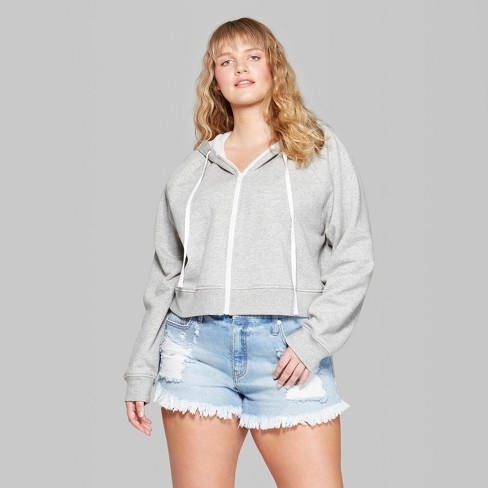 5c99432038152 Women s Plus Size Cropped Zip-Up Hoodie - Wild Fable™ Heather Gray 3X    Target