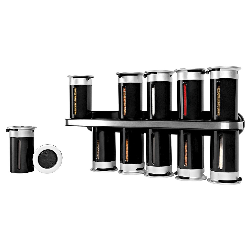 Image of Zevro Zero Gravity Wall-Mount 12 Canister Magnetic Spice Rack Plastic and Steel - Black