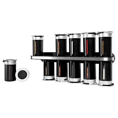 Zevro Zero Gravity™ Wall-Mount 12 Canister Magnetic Spice Rack Plastic and Steel - Black - image 1 of 2