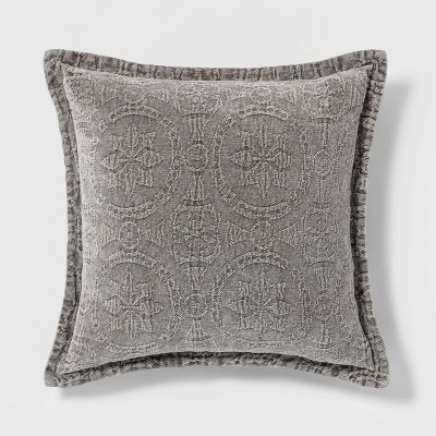Washed Chenille Square Pillow Gray - Threshold™