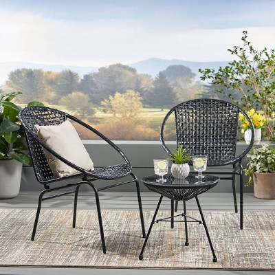 Java 3pc Faux Rattan Chat Set - Black - Christopher Knight Home