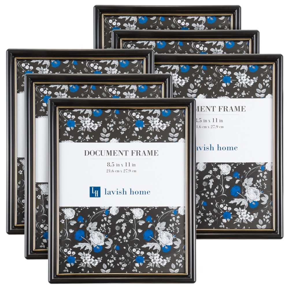 "Image of ""Document Picture Frame with Stand & Hanging Hooks Black 8.5""""x11"""" 6pk - Lavish Home"""