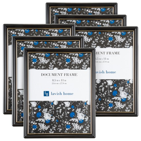 """Document Picture Frame with Stand & Hanging Hooks Black 8.5""""x11"""" 6pk - Lavish Home - image 1 of 4"""