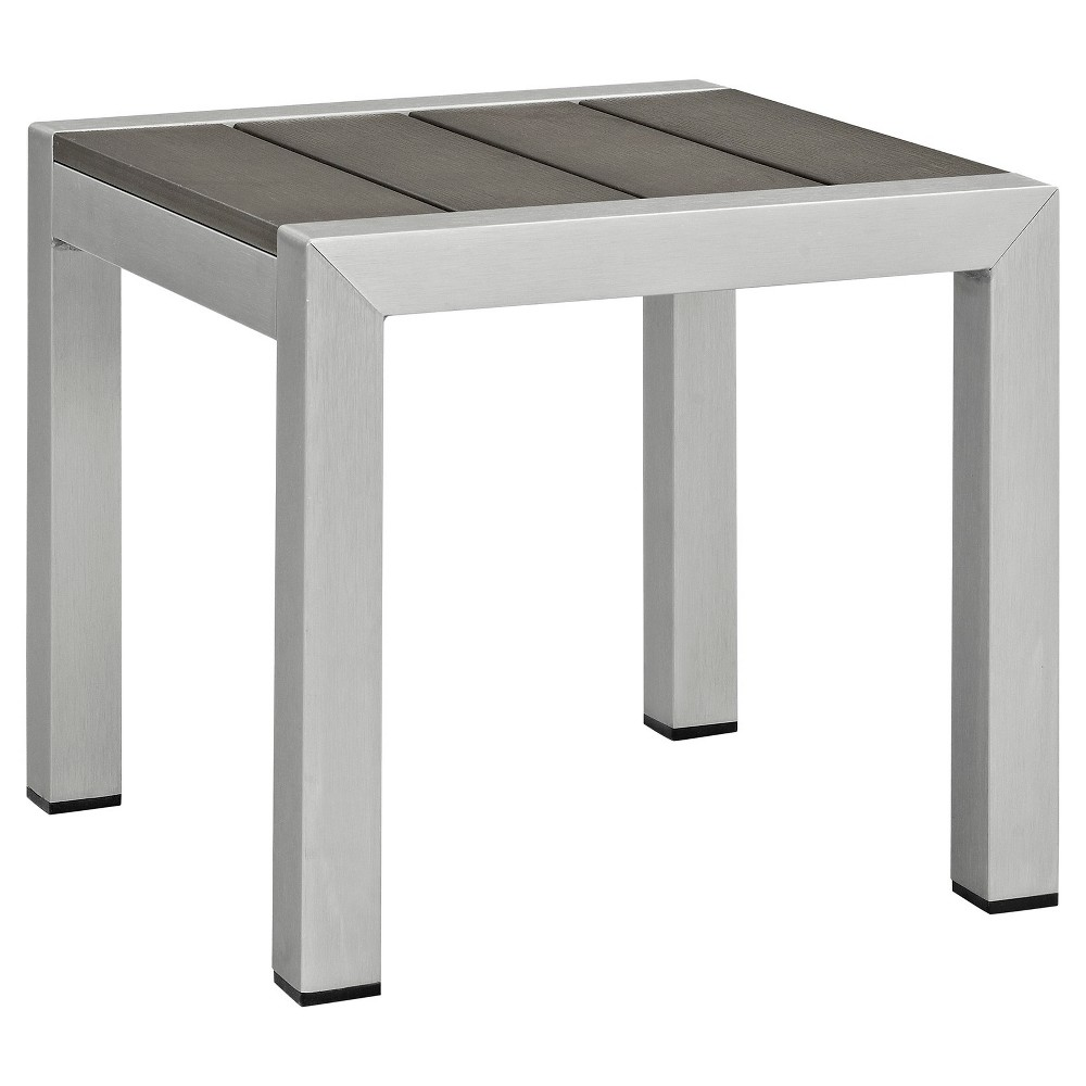 Shore Square Outdoor Patio Aluminum Side Table - Silver Gray - Modway, Light Silver