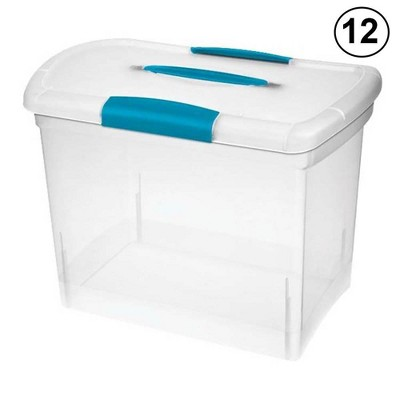 Sterilite Large Nesting ShowOffs Portable Clear File Box with Latches (12 Pack)