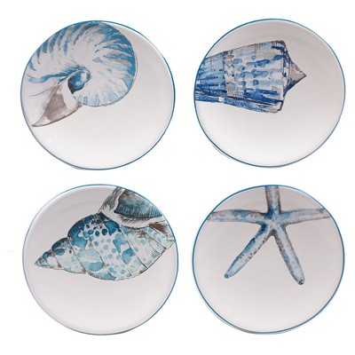 Sea Finds Canape Plate Assorted 6 x6  Set of 4 - Certified International