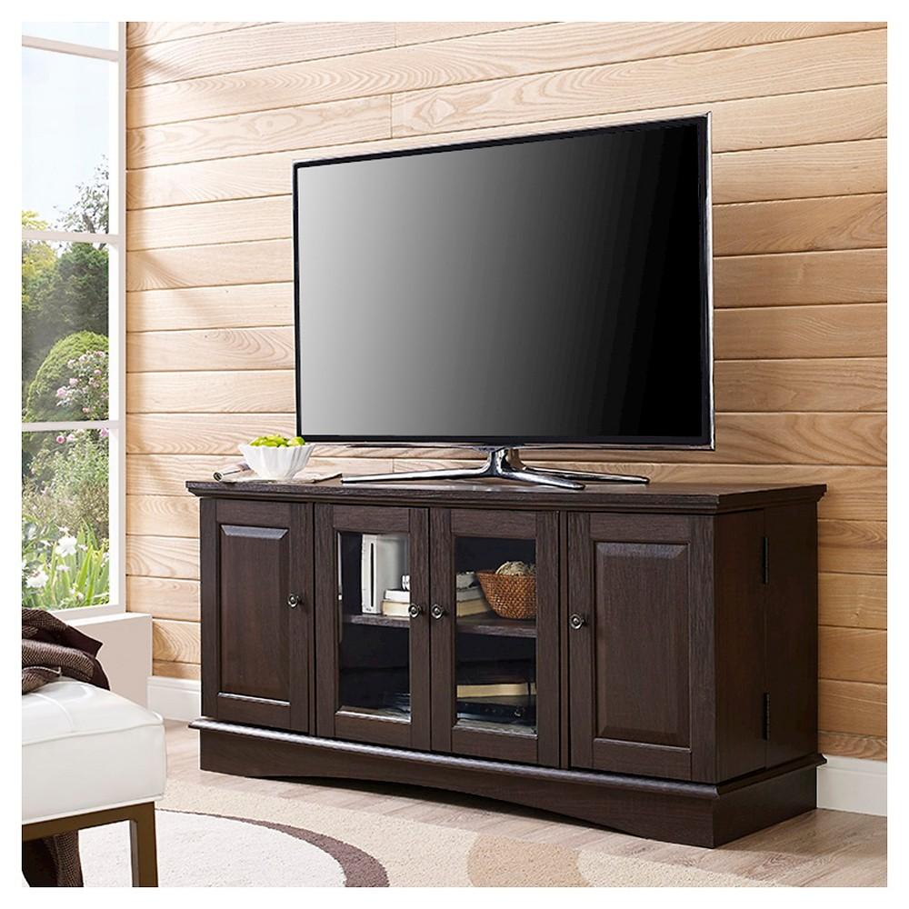 52 Wood TV Media Stand Storage Console - Espresso - Saracina Home, Espresso Brown