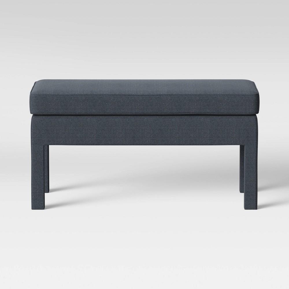 Burtonsville Fully Upholstered Leg Bench Navy (Blue) - Threshold