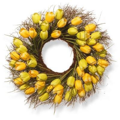 "Artificial Tulip Wreath Yellow 24"" - National Tree Company"