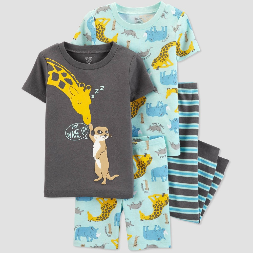 Toddler Boys' 4pc Blue Giraffe Pajama Set - Just One You made by carter's Gray/Blue 3T