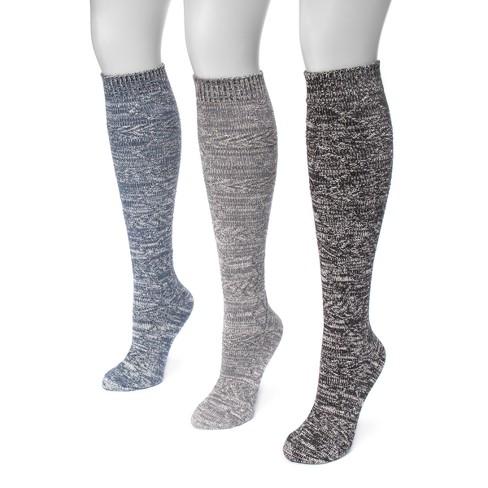 Womens Muk Luks 3pk Diamond Knee High Socks Blue One Size Target