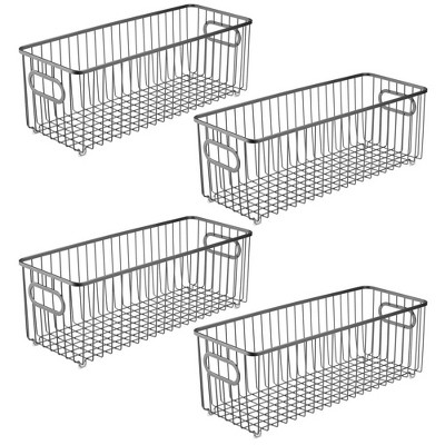 mDesign Deep Metal Bathroom Storage Organizer Basket Bin, 4 Pack