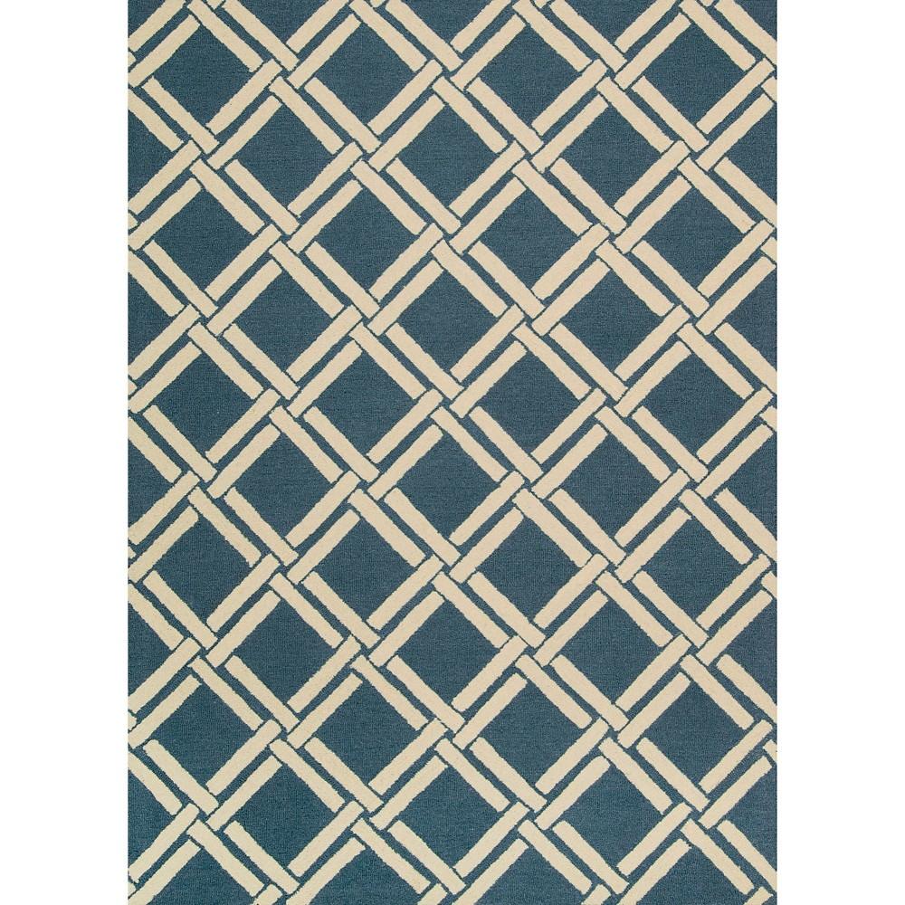 Image of Nourison Diamond Lattic Linear Area Rug - Teal/Ivory (Blue/Ivory) (5'X7')