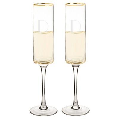 Monogram Gold Rim Champagne Flute Drinkware (Set of 2)