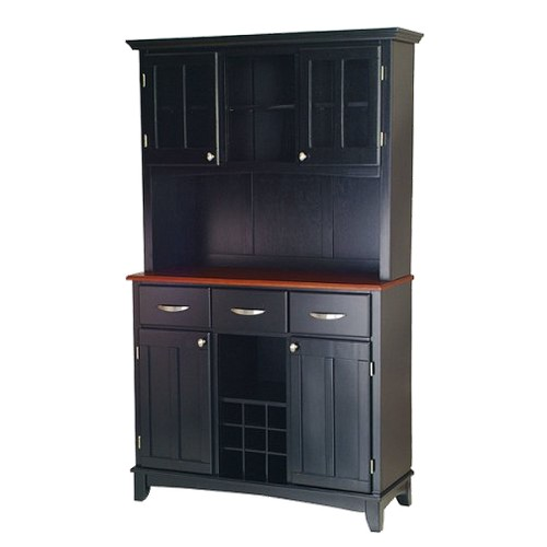Buffet with 2 Door Hutch Wood/Black/Cherry - Home Styles
